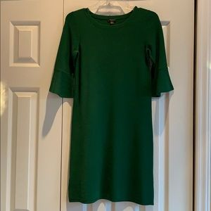 Ann Taylor Green Bell Sleeve Sweater Dress